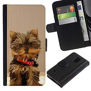 eJoy---La carpeta del tirón la caja de cuero de alta calidad de la PU Caso protector - Samsung Galaxy S5 V SM-G900 - --Yorkshire Terrier Small Dog Puppy
