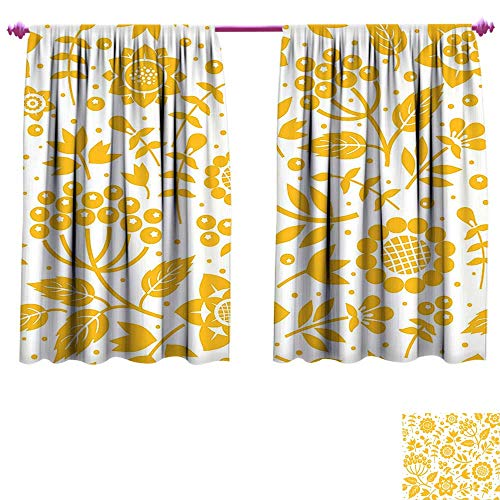 Yellow Flower Room Darkening Wide Curtains Rustic Composition with Berries Twigs Graphic Flora Nature Leaves Pattern Waterproof Window Curtain W55 x L45 Yellow White