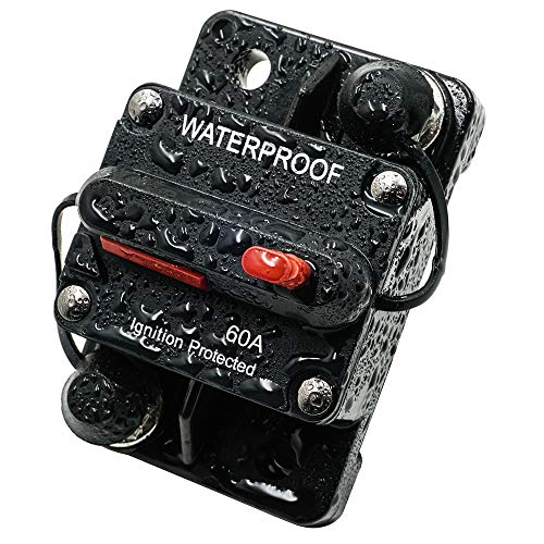 LYCAEA Circuit Breaker for Boat Trolling with Manual Reset,Water Proof,12V- 48V DC (Surface Mount-60A)