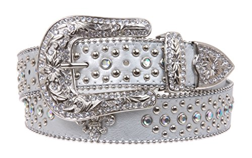 Ladies Western Rhinestone Silver Circle Studs and Fleur De Lis Ornaments Genuine Leather Belt Size: M/L - 38 Color: Silver