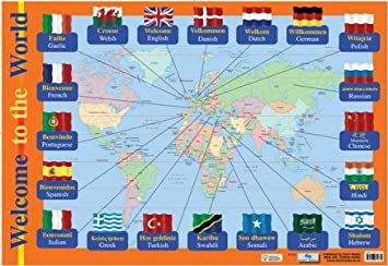 Educational Childrens Map With Flags And Native Language Greeting - Native language world map