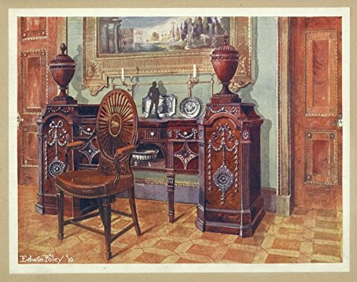 (Historic 1910 Print | Carved Mahogany Pedestal Sideboard. Property of W. Walters, Esq, Baltimore, U.S | Antique Vintage Poster Print)