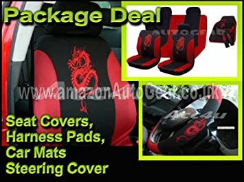 13 Pc Pcs Piece Black Red Dragon Car Seat Covers Set Mats Steering Wheel