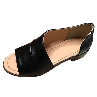 8b2c4409c MORNISN Womens Open Toe Flat Sandals Faux Leather Cut Out Asymmetrical Low Heels  Sandals Summer Casual