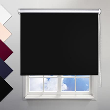 light blocking blinds. SHINY HOME® Black Roller Blinds 120x230cm Blackout Light Blocking Silver Coating No Drilling Required