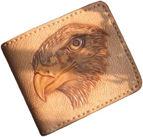 GPUFashion Handmade Leather Craft Wallet Ivory Carved with Khaki Eagle
