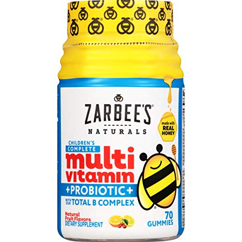 Zarbee's Naturals Children's Complete Multivitamin + Probiotic Gummies, Natural Fruit Flavors, 70 Gummies