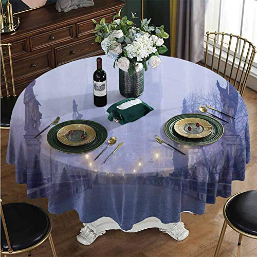Prague Halloween Party (Tablecloth, Foggy Prague Streets Round Cloth Cover for Halloween/Home Party Decor Diameter - 47)