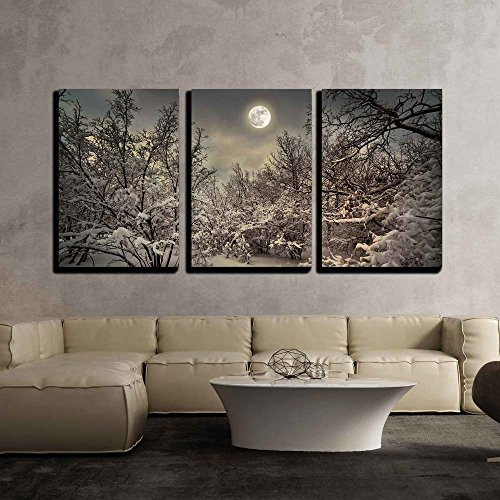 "Wall26 - 3 Piece Canvas Wall Art - Moonlight Night in Winter Wood - Modern Home Decor Stretched and Framed Ready to Hang - 24""x36\""x3 Panels"