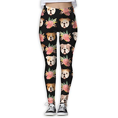 Rainbow Flower Leggings (Pitbull With Pink Flowers Womens Full-Length Sports Running Yoga Workout Leggings Pants Stretchable L)