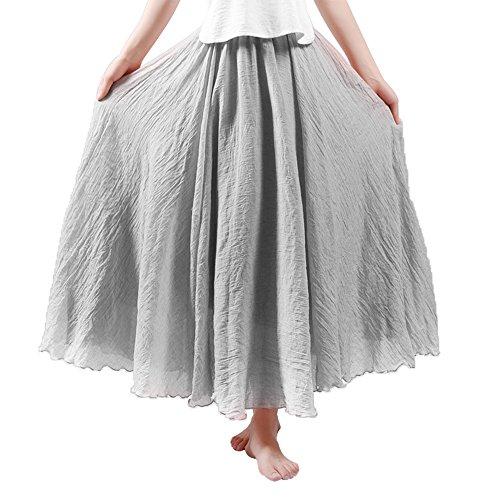 HOYMN Jupe Maxi Femme en Lin Elastique Longue Plisse Jupe de Plage Casual Style Simple Couleur Uni Gris