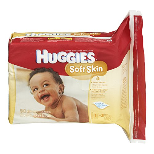 Huggies Soft Skin Baby Wipes, Refill, 552 Total Wipes 184-Count Pack (Pack of 3), Packaging may vary by HUGGIES