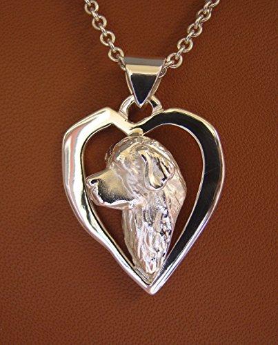 Sterling Silver Newfoundland Head Study On A Free-Form Heart Frame Pendant (Freeform Heart Pendant)