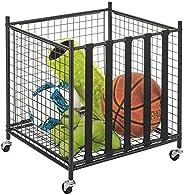 mDesign Metal Rolling Sports Equipment Storage Bin Holder Rack - for Garage, Gym - Holds Sports Equipment, Bas