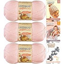 Bernat Softee Baby Yarn 3 Pack Bundle Includes 3 Patterns DK Light Worsted (Pink)