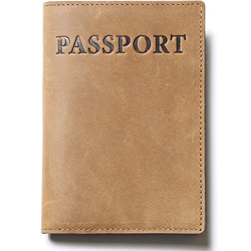 REXAND Passport Holder for Real Men – RFID Blocking Travel Wallet – Passport Cover Leather Case in Gift Box (Light Brown)