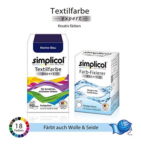 Simplicol Textilfarbe expert + Farbfixierer Kombipack, Marine-Blau ...