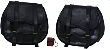 2X Motorcycle 2 Side Pouch Black Leather Side Pouch Saddlebags Saddle Panniers