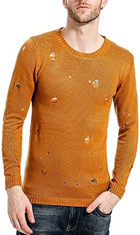 Męski sweter z dzianiny wiosna jesień Crew Neck Destroyed Knit Sweater elegancki normalny lakier istotny długi rękaw sweter z dzianiny: Odzież