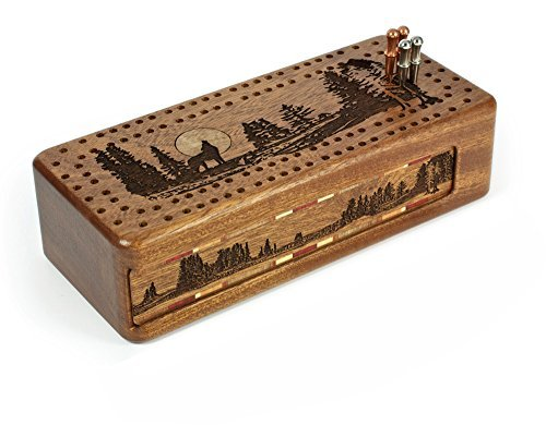 Wolf -Grey Wolf- Gray Wolf Engraved Wooden Cribbage Board with Quality Metal Pegs and Decks of cards by Mitercraft
