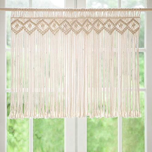 Mkono Macrame Valance Window Treatments Panels Curtain Woven Boho Wall Hanging Home Decor for Apartment Dorm Room Living Room Kitchen Bathroom