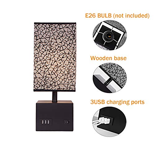 USB Bedside Table Lamp, Briever Nightstand Desk Lamp with 3 USB Charging Ports,Black Wood Charger Base with Fabric Shade,Perfect Lamps for Bedroom,Guest Room, Living Room, Office