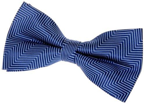 """Retreez Herringbone Stripe Woven Pre-tied Bow Tie (5"""") - Blue"""