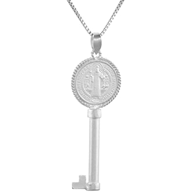 7dd70e6a1e0f00 Sterling Silver St Benedict Key Medal Necklace 1 1/2 inch Italy 16 inch  Box_015