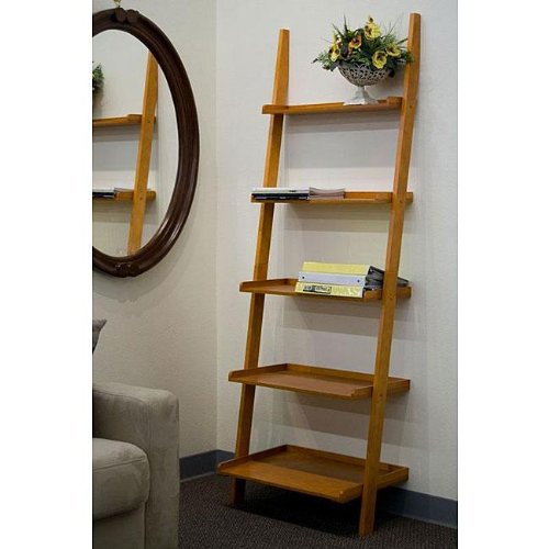Oak 5-tier Leaning Ladder Book Shelf