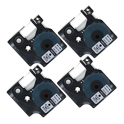 coLorty 4 Pack Standard D1 Labeling Tape Cartridge 45013 S0720530 Black Print on White 1/2 Inch x 23 Feet Compatible for Dymo LabelManager and Label Maker
