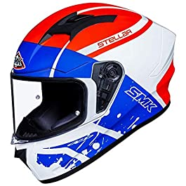 SMK Helmets – Stellar – Squad – White Red Blue – Pinlock Anti Fog Lens Fitted Single Clear Visor Full Face Helmet…