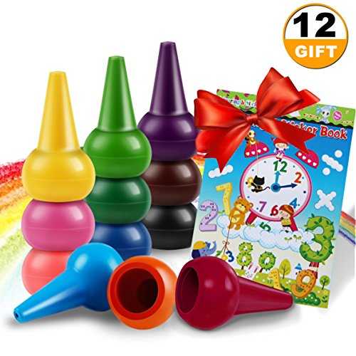 - JOYFAN Drawing Crayons for Kids Paint Crayons for Toddler Crayons 12 Colors Washable Finger Crayons Non-toxic Baby Safe Crayons with A Free Coloring Book & Sticker