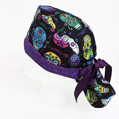 (Ponytail Scrub Hat Day of the Dead Scrub Hats for Women Scrub Cap Medical Hat)