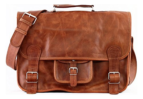 Borsa A Tracolla Vintage In Pelle Paul Marius (xl) (a4) Le Cartable