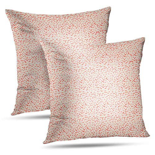 RADMAPLE Hippie Pattern Fall Pillow Covers 18x18,Set of 2,Salmon White Tie Dye Abstract Art Aztec Batik Cloth Color Throw Pillow Covers for Sofa Bed Fall Decor,Salmon White Tie Dye (Outdoor Pillows Batik)