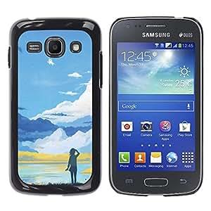 KLONGSHOP // Cubierta de piel con cierre a presión Shell trasero duro de goma Protección Caso - Azul Paisaje de montaña - Samsung Galaxy Ace 3 //