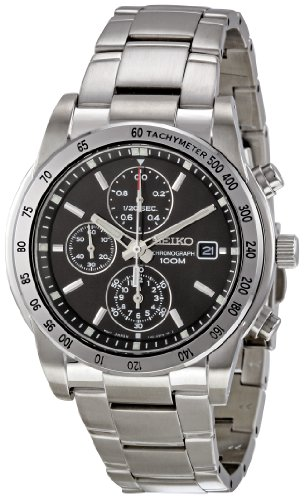 Seiko Men s SNDD05P1 Silver with Black Dial Stainless Steel Quartz Chronograph Watch