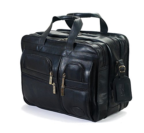 Claire Chase Jumbo Executive Laptop Leather Briefcase, Computer Bag in Black ()