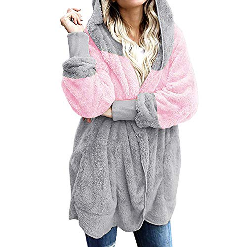 Hosamtel Women Hooded Cardigan Coat Open Front Long Sleeve Pockets Faux Fur Fleece Casual Hoodies Jacket Outwear