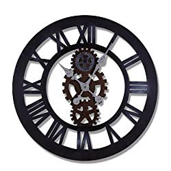 Adeco CK0029 Antique-Look Distressed Black Iron Wall Hanging Clock, Roman Numerals, Gear Detail Home Decor, Black