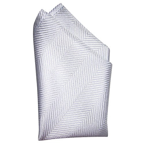 Light Grey Herringbone Silk Pocket Square - Full-Sized 16