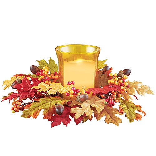 Collections Etc Autumn Leaves Acorns and Berries Candle Holder Centerpiece
