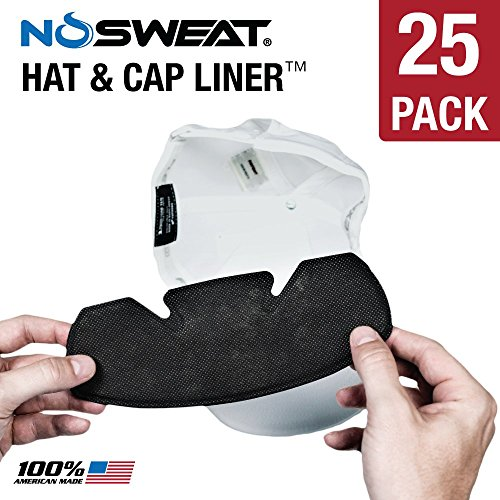 No Sweat Baseball Hat & Helmet Liner / Sweat Absorber -- Prevent Sweat STAINS (Softball) (25 Pack)