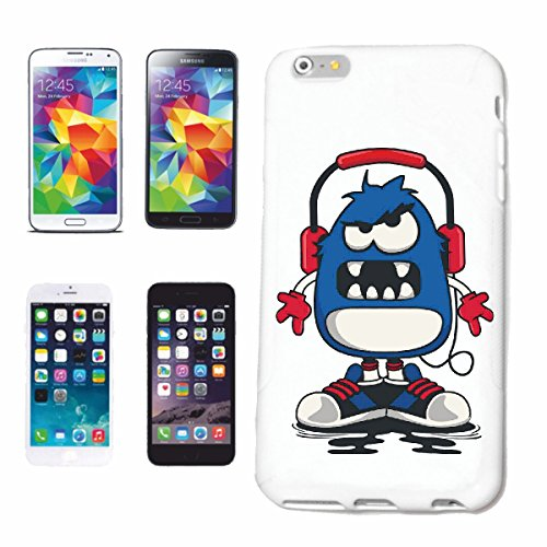 "cas de téléphone iPhone 6S ""MONSTER AVEC CASQUE TECHNO JAZZ FUNKY SOUL TRANCE FESTIVAL HOUSE HIPHOP HIP HOP DJ"" Hard Case Cover Téléphone Covers Smart Cover pour Apple iPhone en blanc"