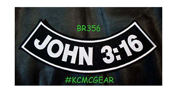JOHN 3:16 Black Bottom Side Rocker Patch for Vest Jacket