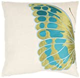 Safavieh Pillow Collection Majestic Butterfly 18-Inch Cream and Blue Embroidered Decorative Pillows, Set of 2