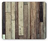 Ambesonne Wooden Mouse Pad by, Antique Planks Flooring Wall Picture American Style Western Rustic Panel Graphic Print, Standard Size Rectangle Non-Slip Rubber Mousepad, Brown
