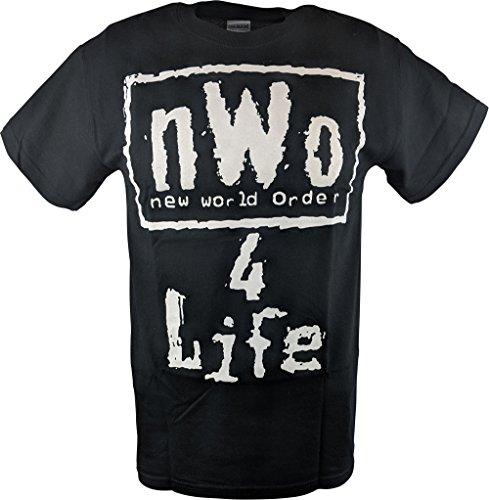 1b9b26241a3cb Hybrid Tees NWO 4 Life WCW White Logo Mens Black T-shirt-4XL