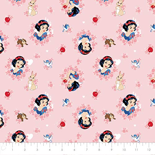 (Disney Forever Princess Snow White Wreaths in Light Coral 100% Premium Quality Cotton Fabric by The Yard)