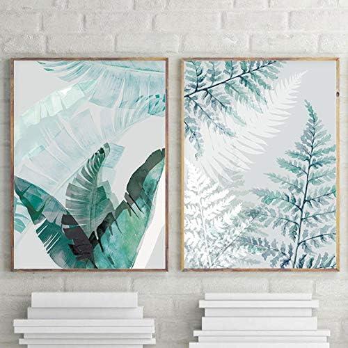 シダの葉の壁アートバナナ葉キャンバス絵画ヤシポスタープリント写真リビングルームの装飾-50x70cmx2ピースフレームなし